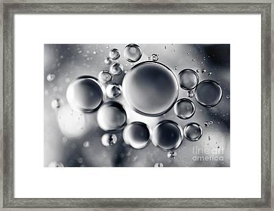 Silver Macro Droplets Framed Print by Sharon Mau