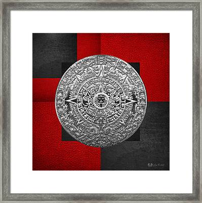 Silver Mayan-aztec Calendar On Black And Red Leather Framed Print