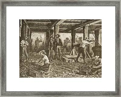 Silver Mining In Nevada In 1870s. From Framed Print