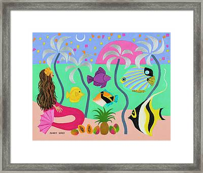 Silver Palms Framed Print by Nancy Hoke