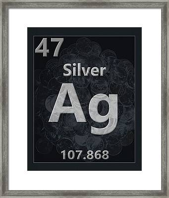 Silver Periodic Table Framed Print by Dan Sproul