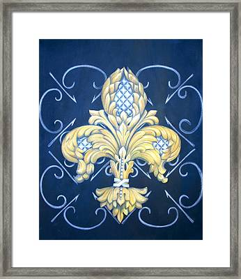 Silver Pineapple Fleur De Lis Framed Print by Jenny Abshier