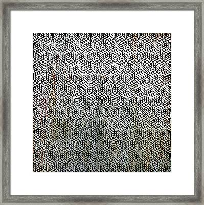 Silver Rubik's Cube Abstract Black And White 1 Framed Print