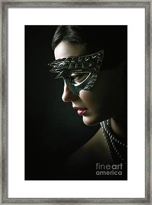 Framed Print featuring the photograph Silver Spike Eye Mask by Dimitar Hristov