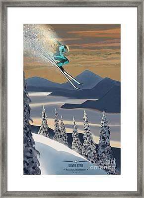 Silver Star Ski Poster Framed Print