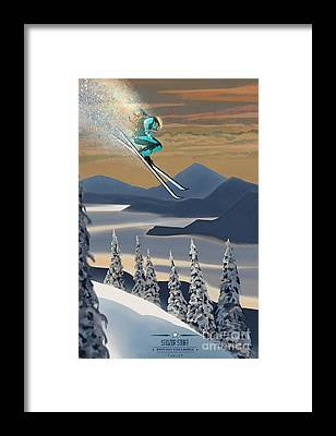 Colorado Ski Art Framed Prints