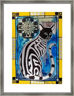 Silver Tabby With Mandala - Cat Art By Dora Hathazi Mendes Framed Print
