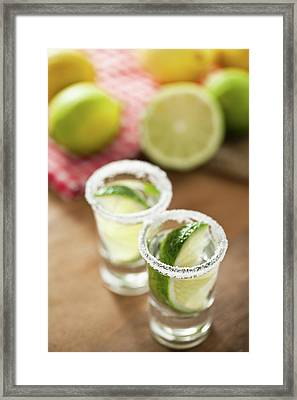 Silver Tequila, Limes And Salt Framed Print