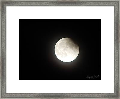 Silver White Eclipse Framed Print