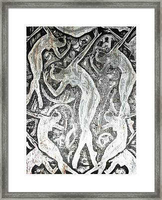 Silver Woman In The Machine Frieze Framed Print