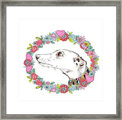 Silvertips Greyhound With Floral Border  Framed Print by Jo Chambers