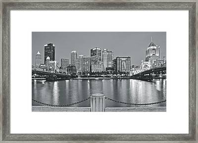 Silvery Lights In Pittsburgh Framed Print