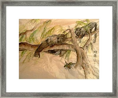 Framed Print featuring the painting Simian And Beetle by Debbi Saccomanno Chan