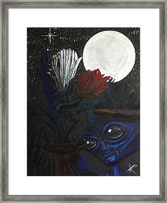 Framed Print featuring the painting Similar Alien Appreciates Flowers By The Light Of The Full Moon. by Similar Alien