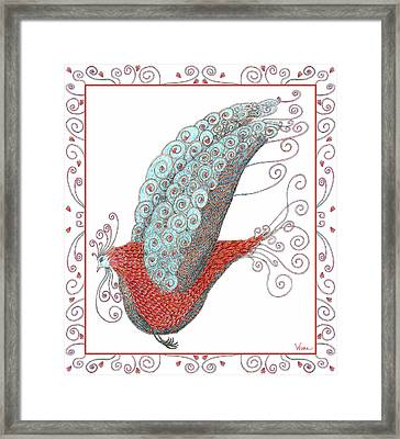 Simon Lovey The Exotic Bird With Border Framed Print