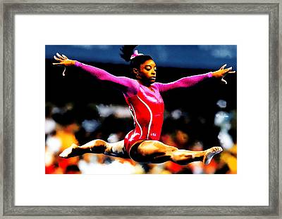 Simone Biles Framed Print by Brian Reaves