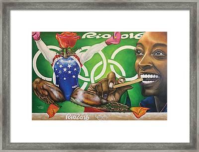 Simone Biles The Golden Rose Framed Print
