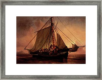 Simonsen Niels Arab Pirate Attack Framed Print by Niels Simonsen