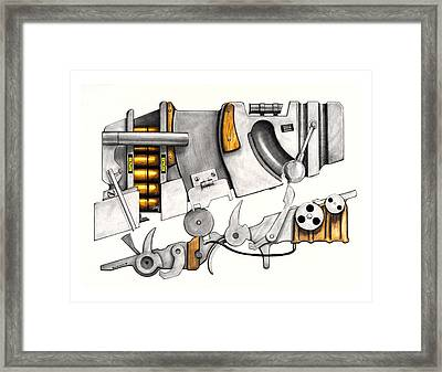 Simple Machines Drawing Three Framed Print by Sean Gautreaux