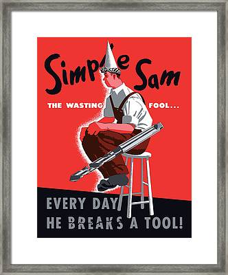 Simple Sam The Wasting Fool Framed Print by War Is Hell Store