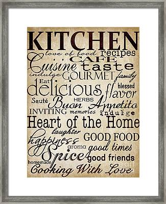 Simple Speak Kitchen Framed Print by Grace Pullen