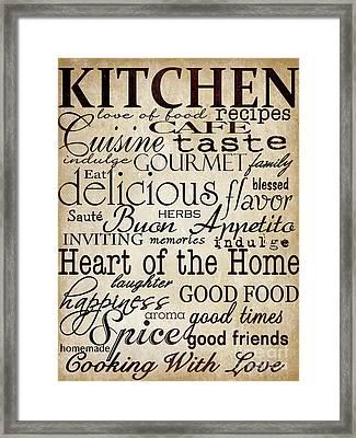 Simple Speak Kitchen Framed Print by Grace Pullen