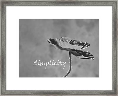 Simplicity Poppy Framed Print by Barbara St Jean