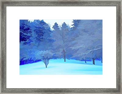 Framed Print featuring the photograph Simply Blue Fresh Snow Scene by Aimee L Maher Photography and Art Visit ALMGallerydotcom