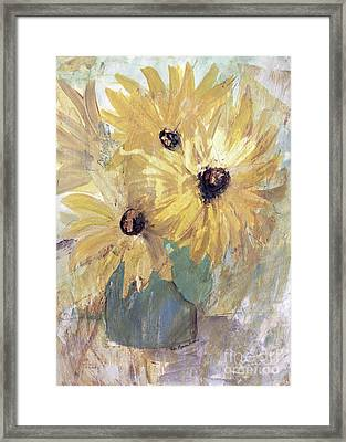 Framed Print featuring the painting Simply Sunflowers  by Robin Maria Pedrero