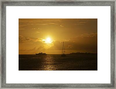 Simpson Bay Sunset Saint Martin Caribbean Framed Print by Toby McGuire