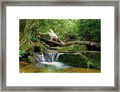 Framed Print featuring the photograph Sims Creek Waterfall by Meta Gatschenberger
