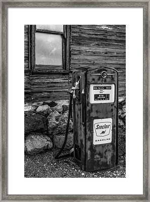 Sinclair Gas Pump Bw Framed Print by Susan Candelario
