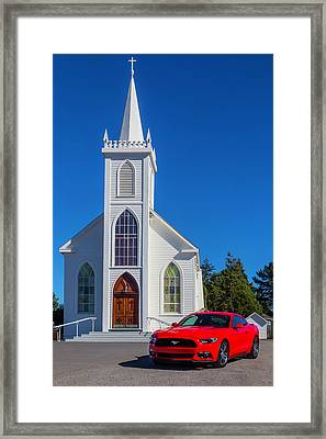 Sinful Red Mustang Framed Print by Garry Gay