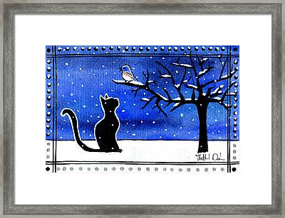 Sing For Me - Black Cat Card Framed Print