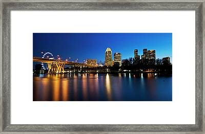 Singapore - Blue Hour Framed Print by Ng Hock How