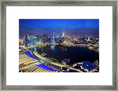 Singapore - View From Marina Bay Sands Framed Print by Ng Hock How
