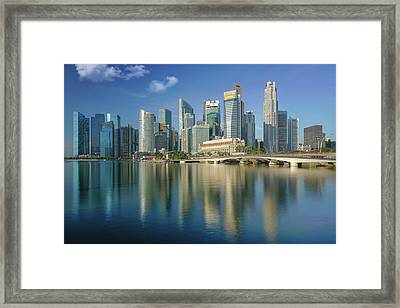 Singapore City And Building In Day Time With Water Flont And Ref Framed Print