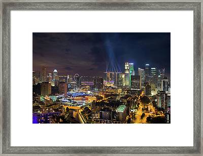Singapore City Lights Framed Print by David Gn