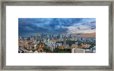 Singapore Cityscape At Sunset Framed Print by David Gn