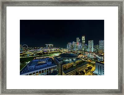 Singapore Modern Skyline By The River At Night Framed Print by David Gn