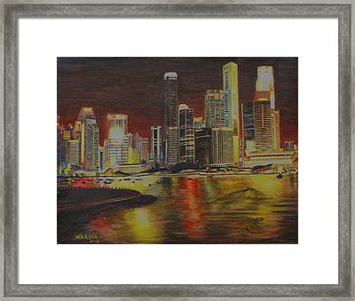 Singapore Nights Framed Print by Nik Helbig