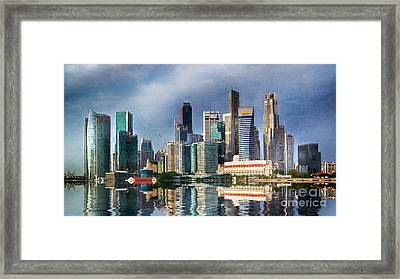 Singapore Skyline Framed Print by Ian Mitchell
