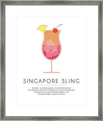 Singapore Sling Classic Cocktail Minimalist Print Framed Print
