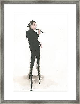 Singer Melting A Jazz Tune Framed Print