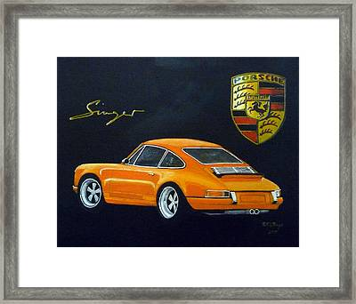 Framed Print featuring the painting Singer Porsche by Richard Le Page
