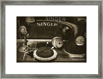 Singer Sewing Machine And A Victorian Pin Cushion Framed Print by Paul Ward