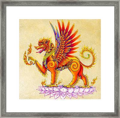 Singha Winged Lion Framed Print
