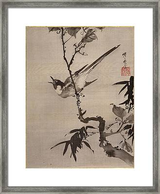 Singing Bird On A Branch Framed Print by Kawanabe Kyosai