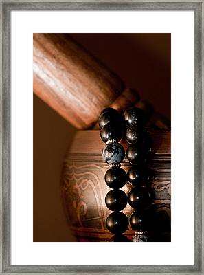 Singing Bowl And Mala In Color Framed Print