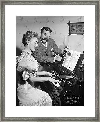 Singing Couple In 19th Century Dress Framed Print by Debrocke/ClassicStock